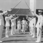 Woman Marine married in Uniform