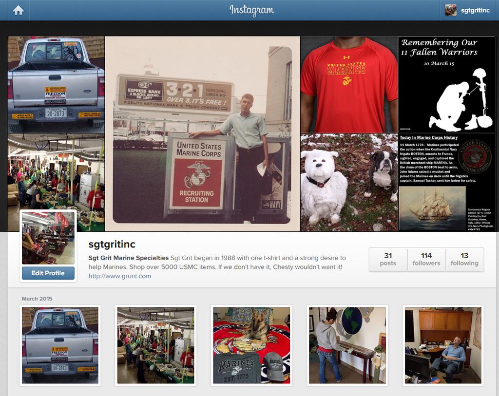 Sgt Grit Has Landed On Instagram