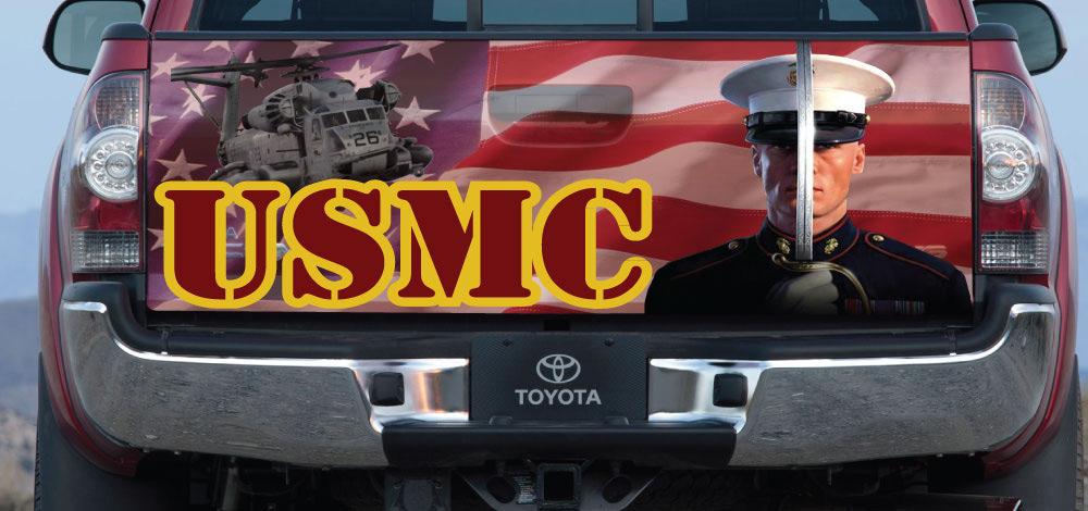 Marine Toyota Tacoma tailgate wrap